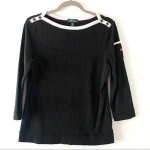 Ralph Lauren quarter sleeve black and white top L